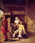 Pieter de Hooch Two Soldiers and a Serving Woman with a Trumpeter painting