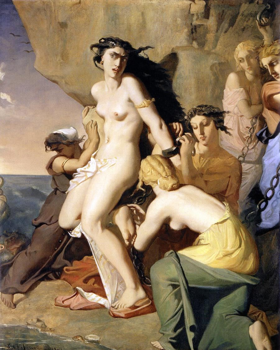 Theodore Chasseriau Andromeda Chained to the Rock by the Nereids