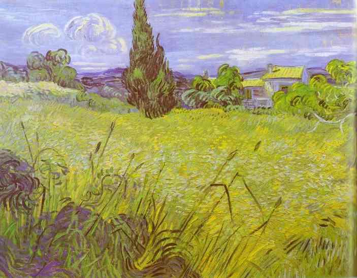 Vincent van Gogh Green Wheat Field with Cypress. Saint-Remy