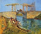 Bridge Canvas Paintings - The Langlois Bridge at Arles with Women Washing