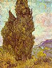 Vincent Van Gogh Canvas Paintings - Two Cypresses