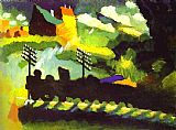 Wassily Kandinsky Murnau-View with Railroad and Castle painting
