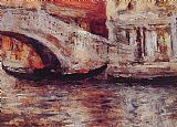 Canal Canvas Paintings - Gondolas Along Venetian Canal