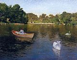 Park Canvas Paintings - On the Lake Central Park