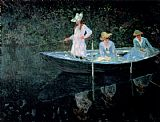 Claude Monet Canvas Paintings - In The Rowing Boat