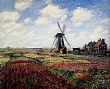 Claude Monet Tulip Fields With The Rijnsburg Windmill painting
