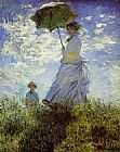 Claude Monet Canvas Paintings - Woman with a Parasol