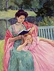 Mary Cassatt Canvas Paintings - Auguste Reading to Her Daughter
