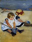 Mary Cassatt Canvas Paintings - Children on the Shore