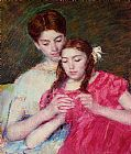 Mary Cassatt Canvas Paintings - The Crochet Lesson