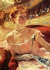 Mary Cassatt Canvas Paintings - Woman With A Pearl Necklace In A Loge