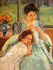 Mary Cassatt Canvas Paintings - Young Mother Sewing